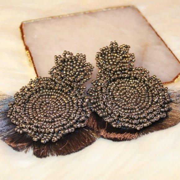 Beaded Drop Earrings with Tassels